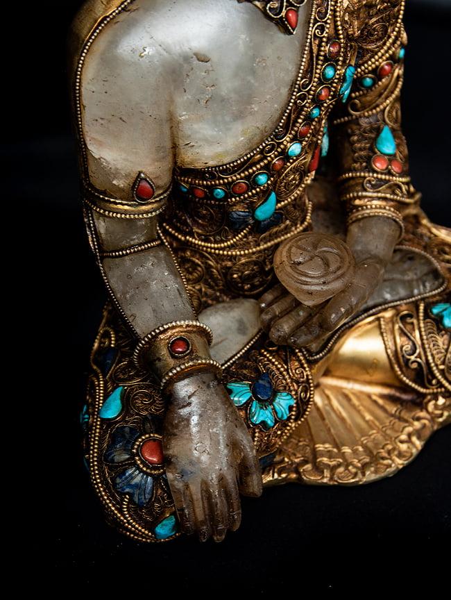 水晶阿しゅく如来(アクショービヤ) 銅造鍍金水晶彫琢仕上げ - 22cm 8 - 右手・右腕の様子です。