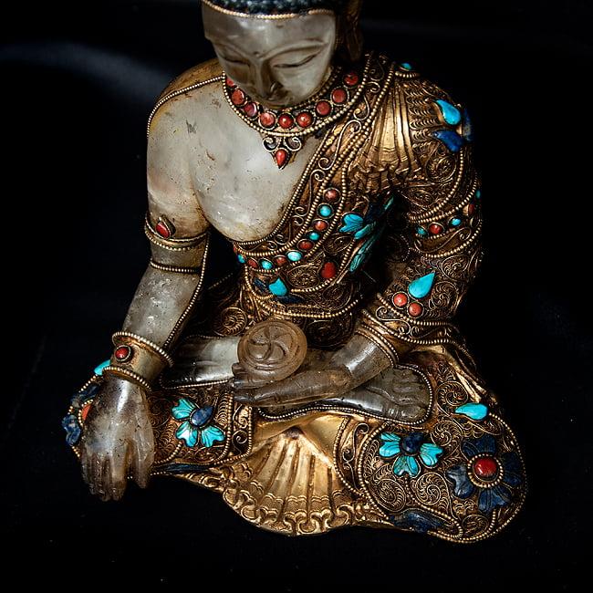 水晶阿しゅく如来(アクショービヤ) 銅造鍍金水晶彫琢仕上げ - 22cm 9 - 上からの図像です。