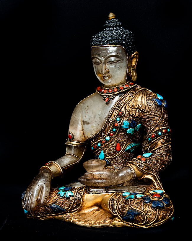 水晶阿しゅく如来(アクショービヤ) 銅造鍍金水晶彫琢仕上げ - 22cmの写真