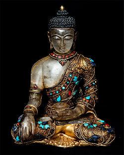 水晶阿しゅく如来(アクショービヤ) 銅造鍍金水晶彫琢仕上げ - 22cmの商品写真