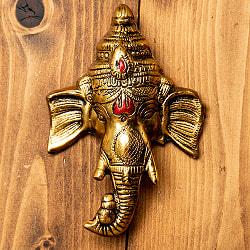 〔壁掛けタイプ〕インドの神様ウォールハンギング - ガネーシャフェイス 16cm