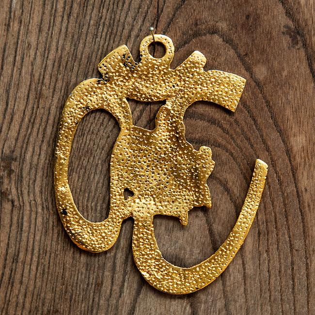 〔壁掛けタイプ〕インドの神様ウォールハンギング - オーン・ガネーシャ - 11cm 4 - 裏面の様子です。