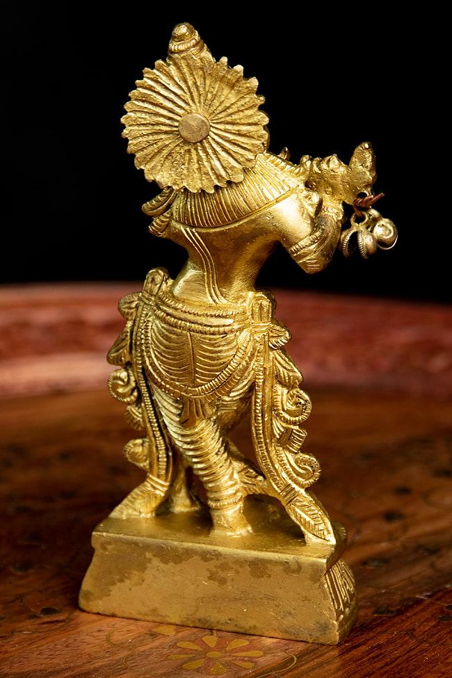 クリシュナ ブラス像(高さ:12.5cm) 6 - 背面からの様子です。神秘的かつ妖艶な様式です。