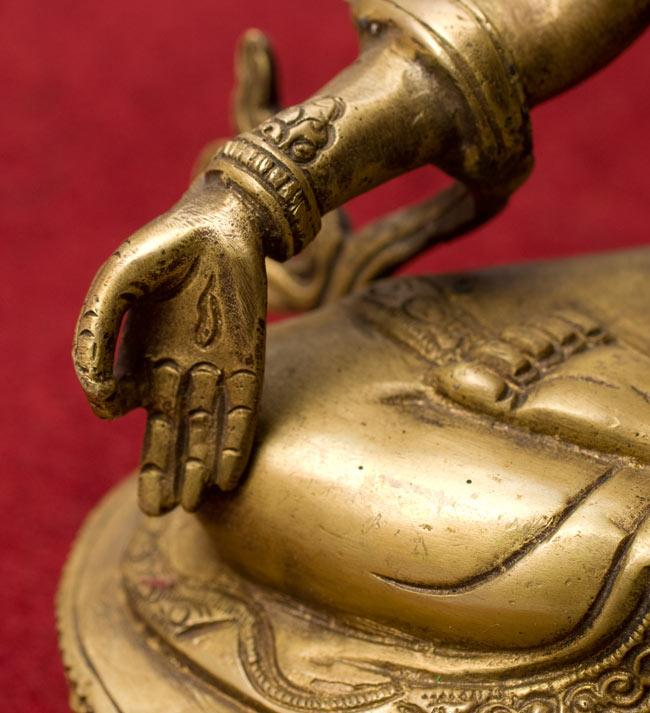 白多羅菩薩 - ホワイトターラー[31cm] 8 - 左手のアップです
