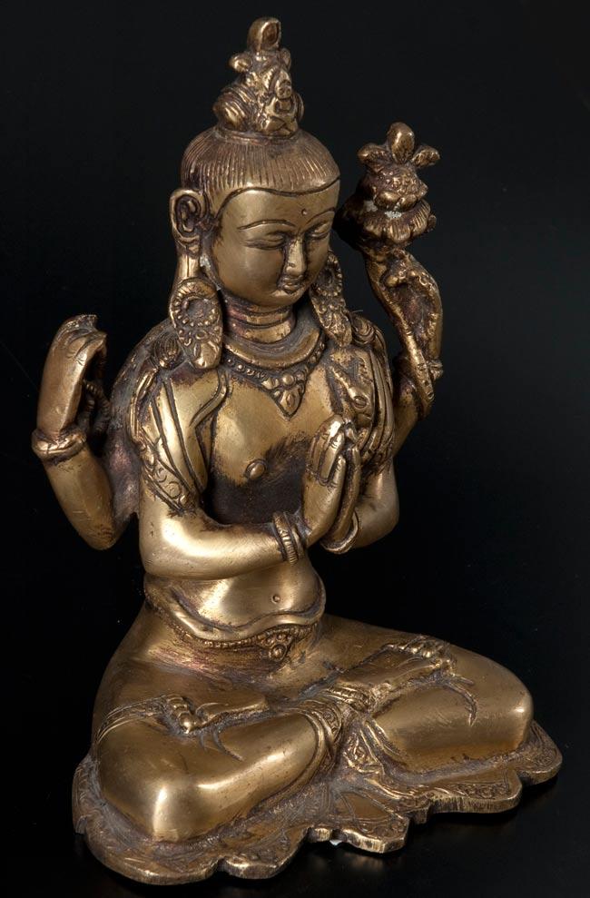 六字観音菩薩(シャドゥクシャリー・アヴァローキテーシュワラ)[16cm]の写真5 - 横から撮影しました