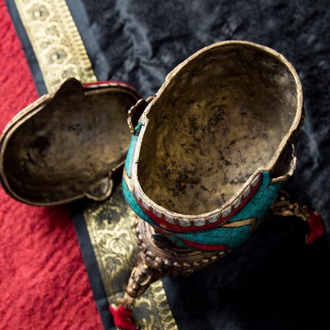 【高品質】チベット密教法具 頭蓋骨杯 カパーラ 11 - 蓋を開けてみました。