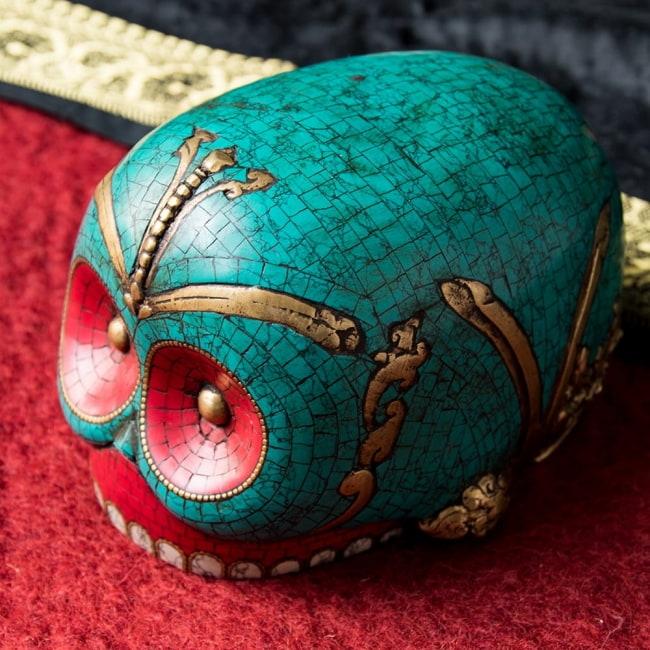 【高品質】チベット密教法具 頭蓋骨杯 カパーラ 12 - 頭頂側の様子です。