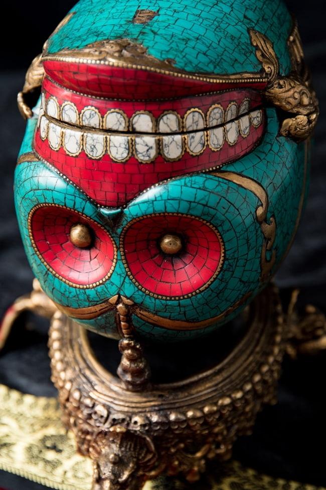 【高品質】チベット密教法具 頭蓋骨杯 カパーラ 2 - 造形と装飾が非常にマッチした芸術的なフィニッシュです