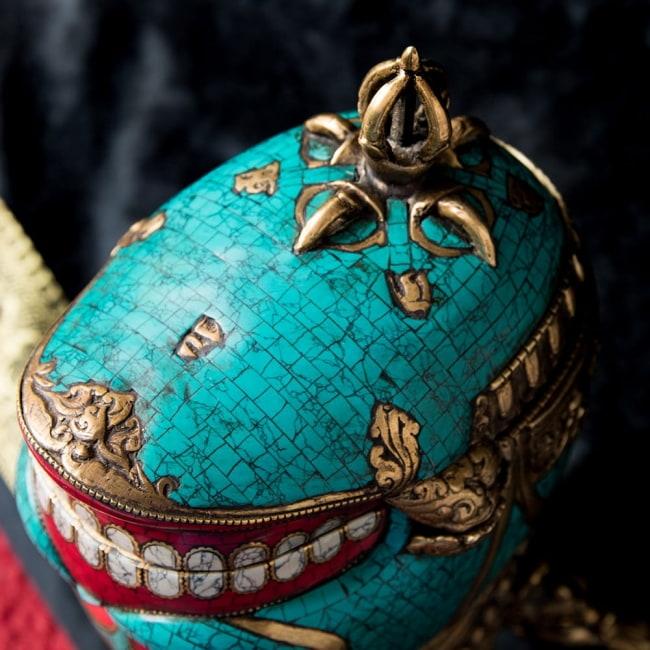 【高品質】チベット密教法具 頭蓋骨杯 カパーラ 3 - 細かいところまで装飾されています。