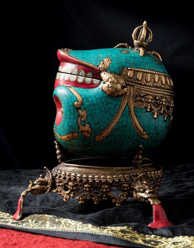 【高品質】チベット密教法具 頭蓋骨杯 カパーラ 4 - 側面を見てみました。