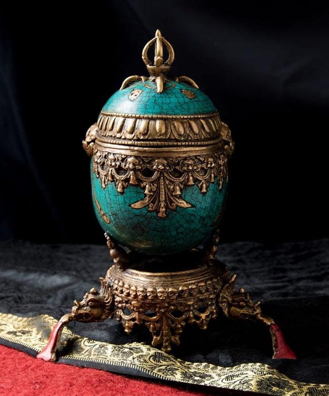 【高品質】チベット密教法具 頭蓋骨杯 カパーラ 5 - 後ろ側から見てみました。
