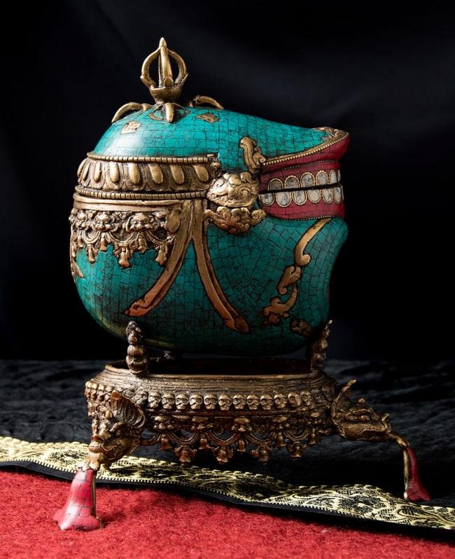 【高品質】チベット密教法具 頭蓋骨杯 カパーラ 6 - 反対側の側面の様子です。