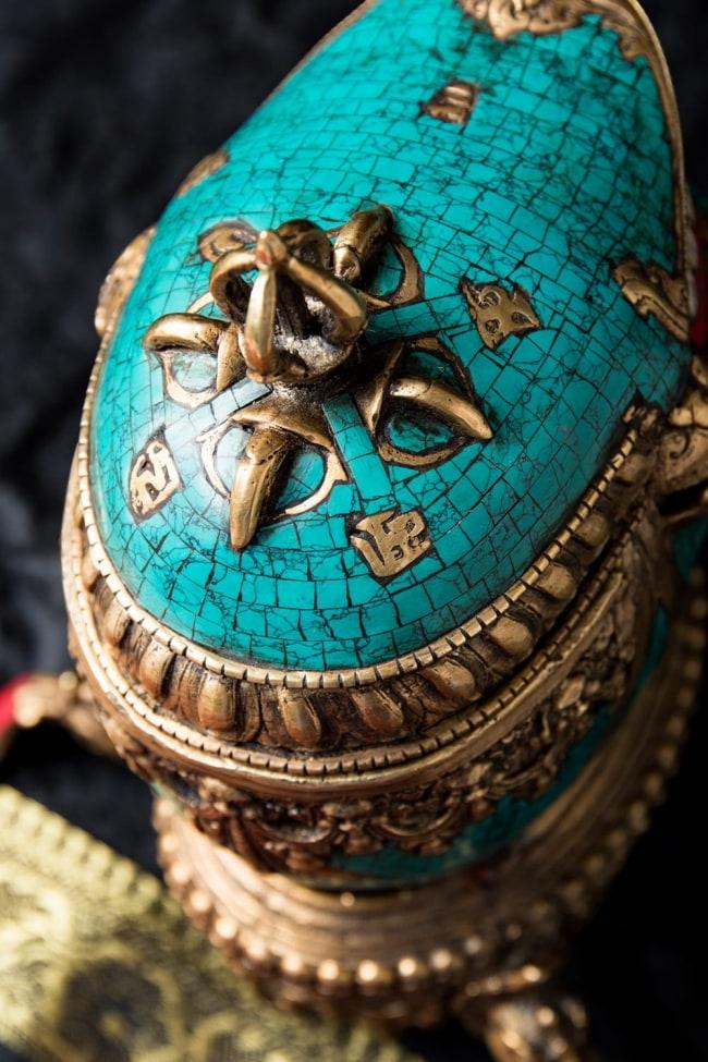 【高品質】チベット密教法具 頭蓋骨杯 カパーラ 8 - 細部を見てみました。