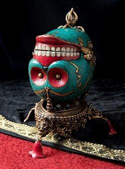 【高品質】チベット密教法具 頭蓋骨杯 カパーラ