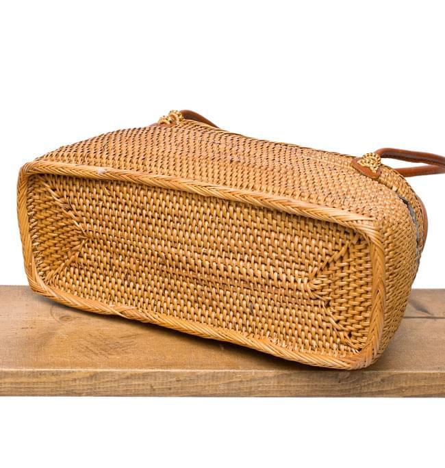 アタかご 巾着バッグ  ココナッツボタン付き 発祥の地トゥガナン村で手作り【約13cm x 27cm】 4 - 裏面の写真です