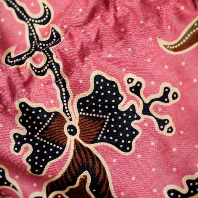 アタかご 巾着バッグ  ココナッツボタン付き 発祥の地トゥガナン村で手作り【約13cm x 27cm】 9 - 巾着を広げてみたところです