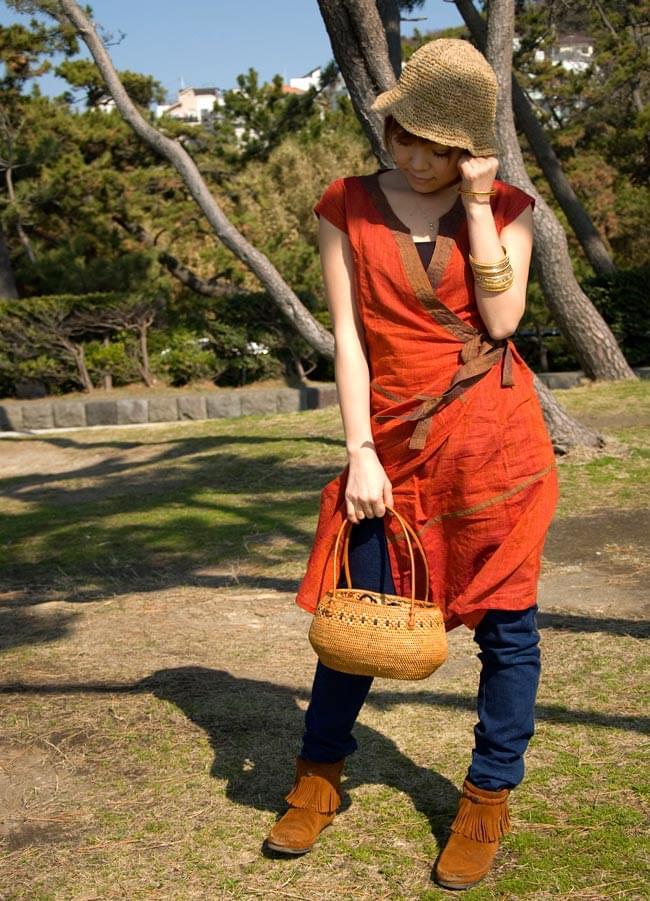 アタかご 巾着バッグ 発祥の地トゥガナン村で手作り 7 - 持ち手の部分もしっかりと作られています