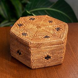 トゥガナン村のアタ 蓋付き六角小物入れ