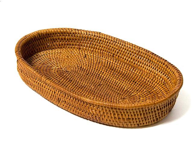 トゥガナン村のアタ 楕円薄小皿 【22cm】の写真3 - 横から撮ってみました。