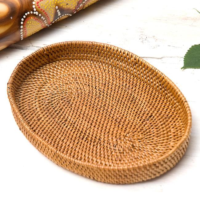 トゥガナン村のアタ 楕円薄小皿 【22cm】の写真