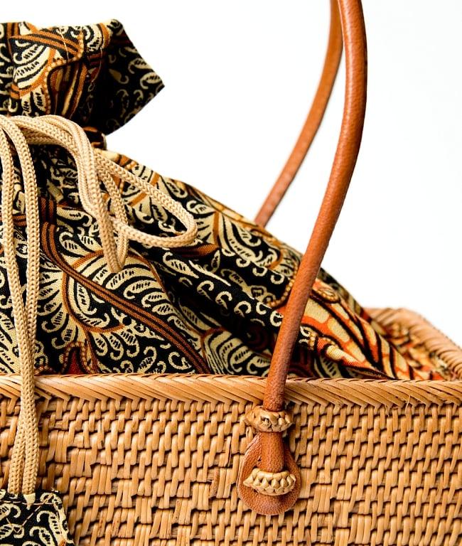 アタかご 巾着スクエアバッグ 発祥の地トゥガナン村で手作り【約22cm x30cm 】 7 - 持ち手の部分もしっかりと作られています