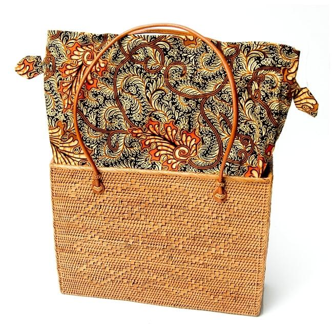 アタかご 巾着スクエアバッグ 発祥の地トゥガナン村で手作り【約22cm x30cm 】 9 - 巾着を広げてみたところです