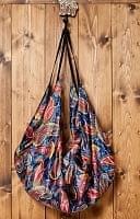 インドとアジアのバッグのセール品:[サマーセール第三弾!]インドのサテンビッグショルダーバッグ ペイズリー 青