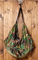 インドのサテンビッグショルダーバッグ - ペイズリー緑
