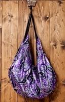 インドのサテンビッグショルダーバッグ ペイズリー紫