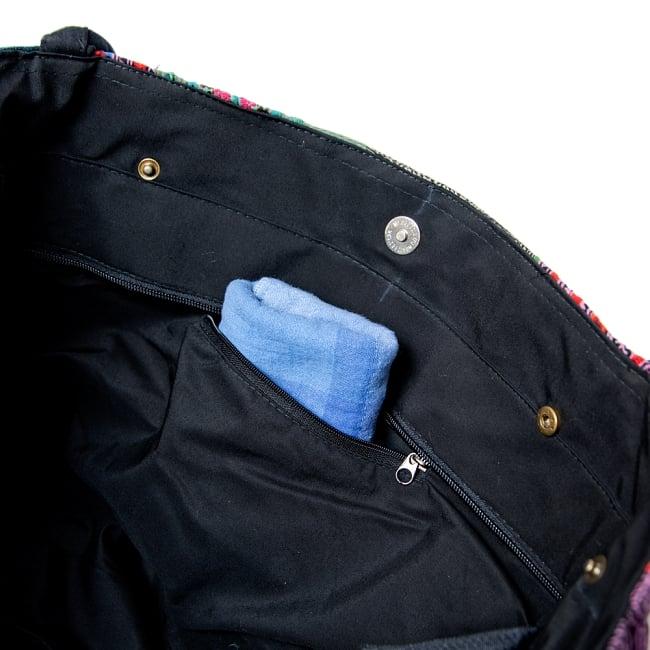 [一点物]モン族刺繍の大きなお出かけバッグ - 小【ポーチ付き】- 持ち手がブラウン 9 - 内側にはジップ付きのポケットがあります。