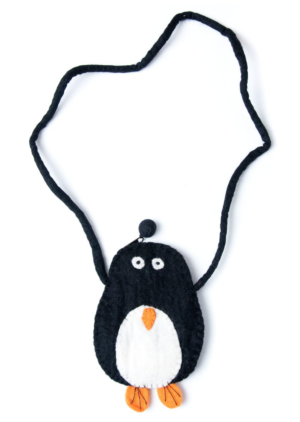 手作りフェルト ネパールのゆるいアニマルポシェット(ミニ) - ペンギンの写真