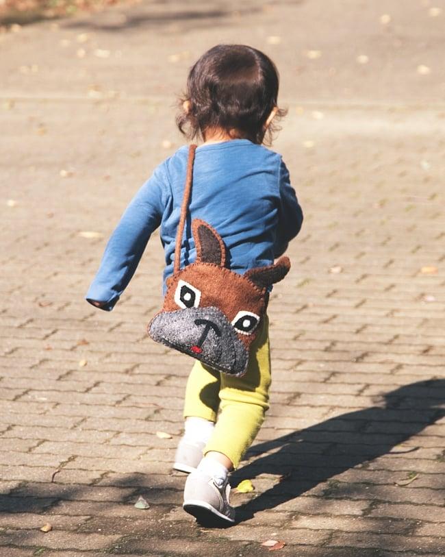 手作りフェルト ネパールのゆるいアニマルポシェット - ひつじ 9 - 子ども用のバッグにもとってもかわいいですよ