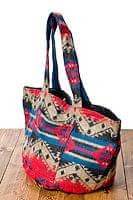 ネパールの機織りショルダーバッグ 赤×ネイビー