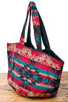 ネパールの機織りショルダーバッグ 青緑×赤