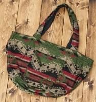 ネパールの機織りショルダーバッグ 緑×赤