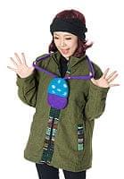 フェルトのきのこちゃんスライドバッグ 【青×紫】