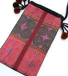 【一点物】モン族 繊細刺繍の肩掛けポシェット