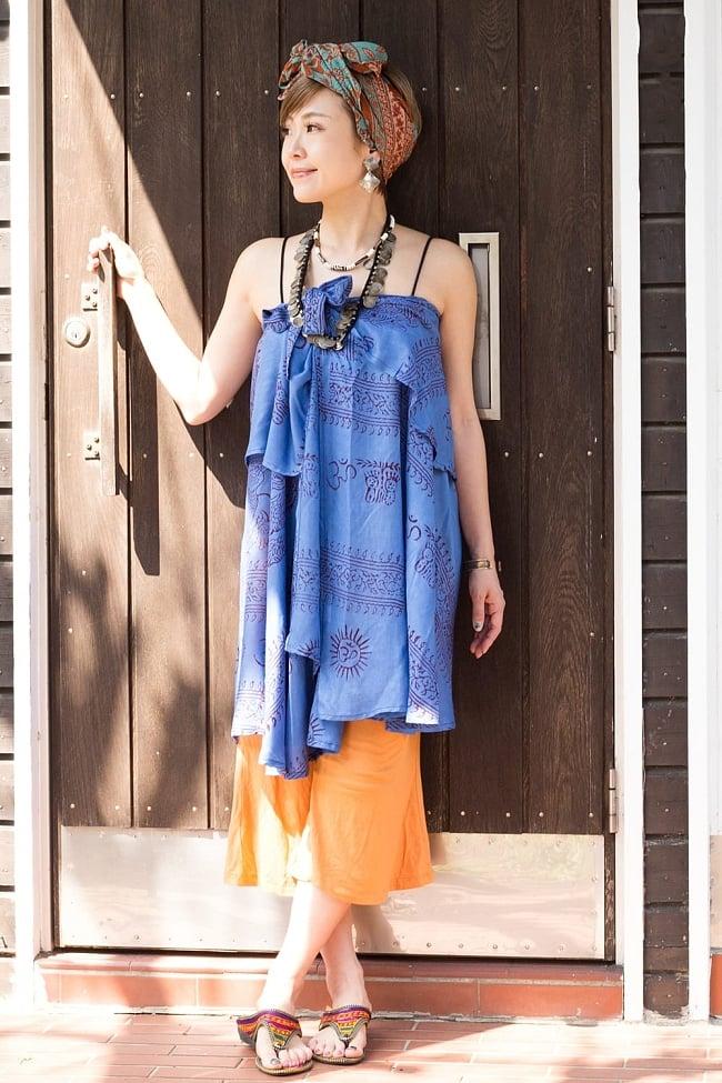 ラムナミフェアリー巻きスカート 6 - 胸まで上げて着こなしてもリゾート感でていい感じです。こちらはショートデザインになります。