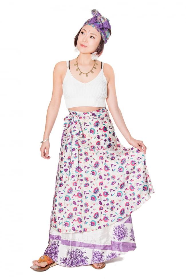 20通りの着方ができる魔法のスカート - 紫系アソート 5 - こんな感じで着用することもできます。着方は自由自在!