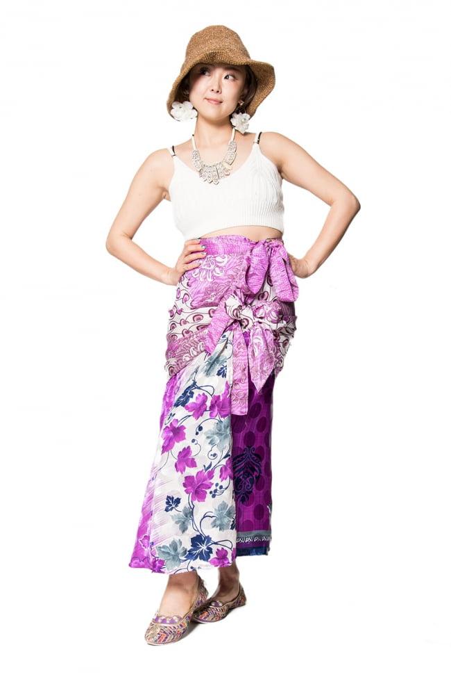 20通りの着方ができる魔法のスカート - 紫系アソート 6 - こんな感じで着用することもできます。着方は自由自在!