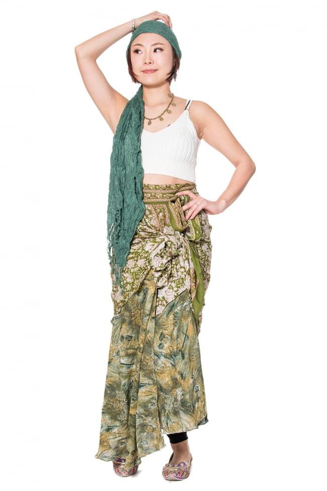 20通りの着方ができる魔法のスカート - 緑系アソート 5 - こんな感じで着用することもできます。着方は自由自在!