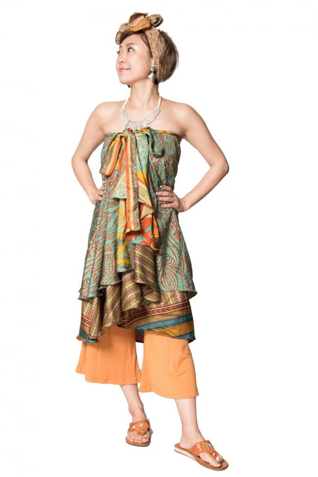 20通りの着方ができる魔法のスカート - 緑系アソート 6 - 完全に平らな感じにしてみました