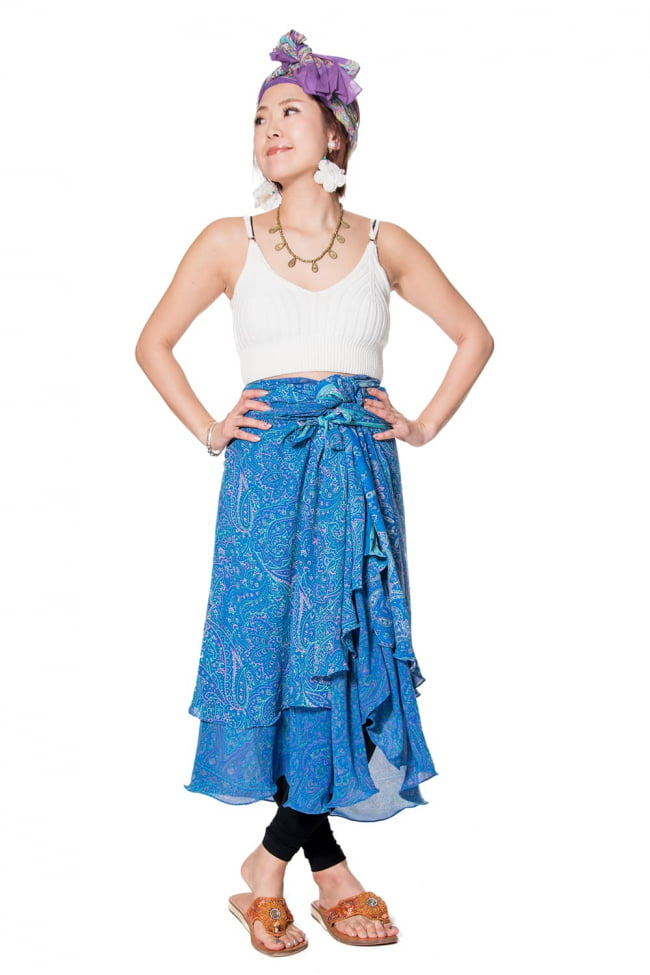20通りの着方ができる魔法のスカート - 青系アソート 6 - 着用例。着方は自由自在!