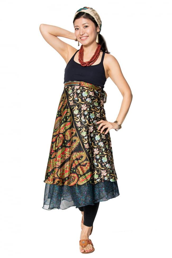 20通りの着方ができる魔法のスカート - パッチワーク 7 - 半分に折った状態で広げてみました。