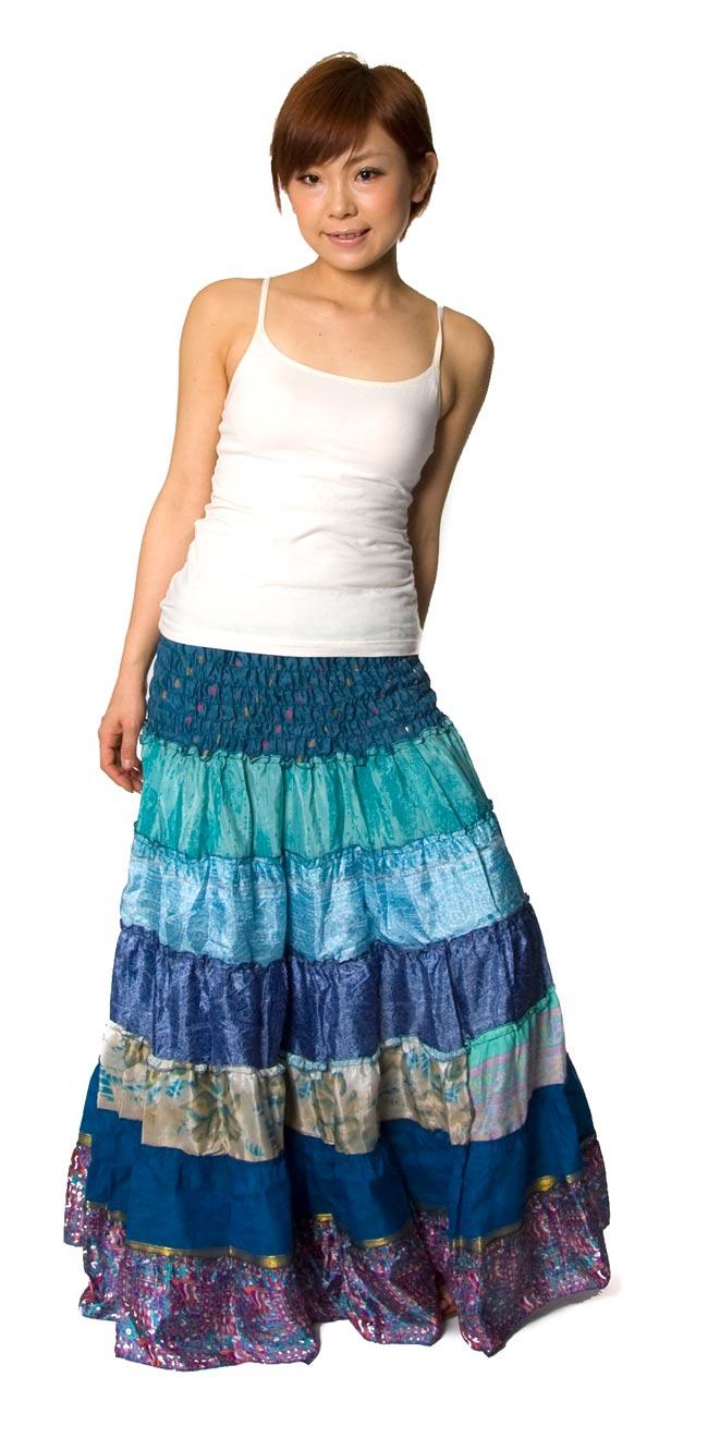 オールドサリーの2WAYスカート【ロング‐青系】 3 - 身長150cmのモデルさんに着てもらいました。こんな風にも着ていただけます。