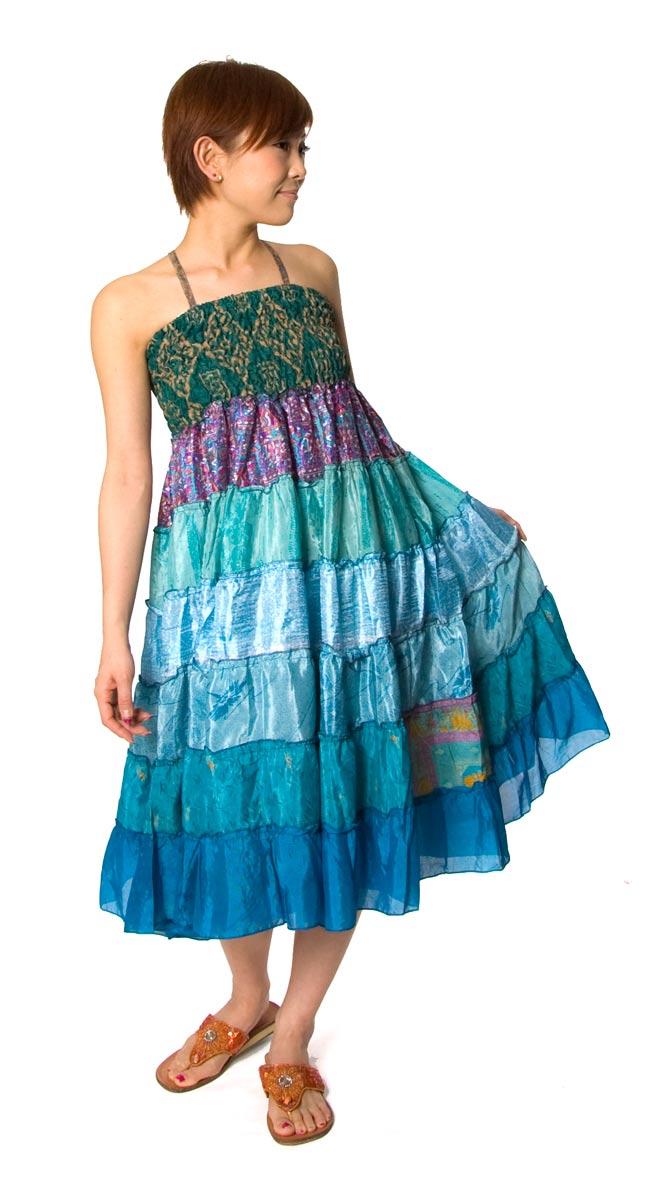 オールドサリーの2WAYスカート【ロング‐青系】の写真
