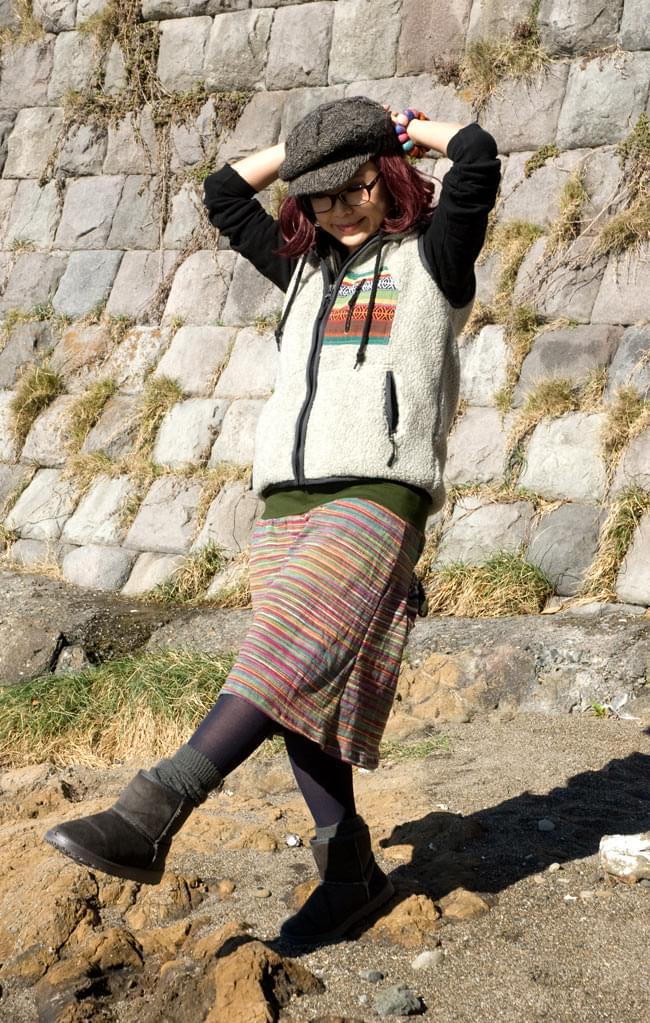 ゲリポケットのリブニットスカートの写真