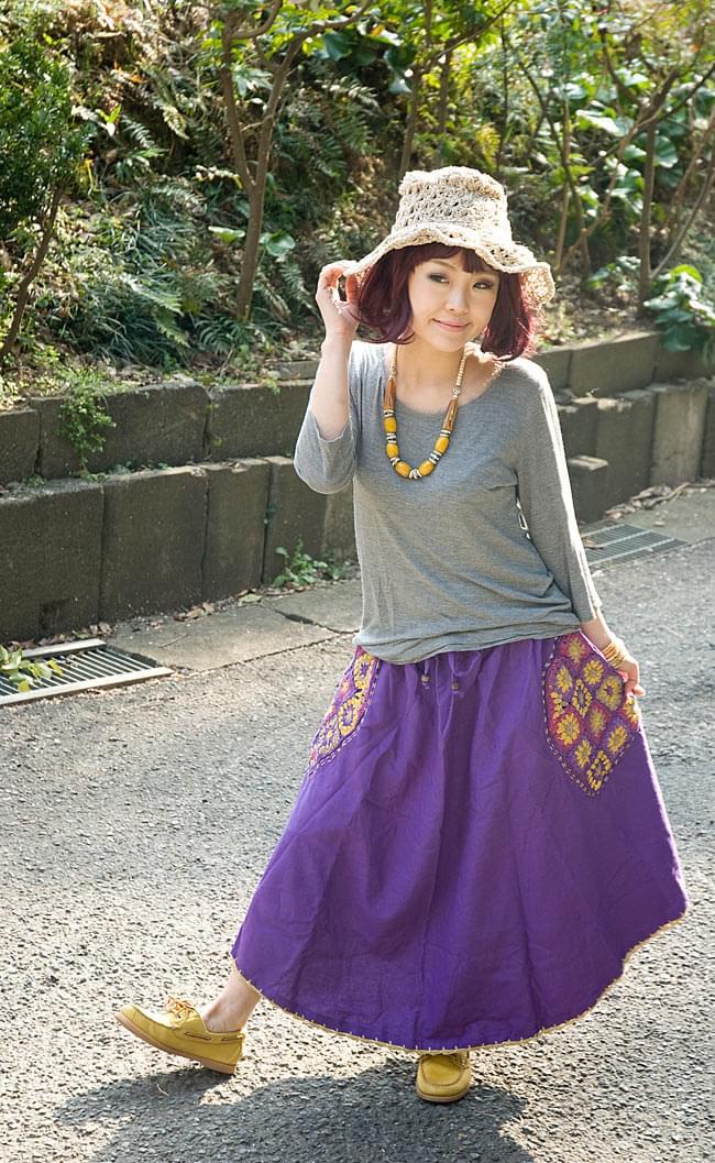 フラワー刺繍のコットンフレアスカート 2 - 身長150cmの着用例です。