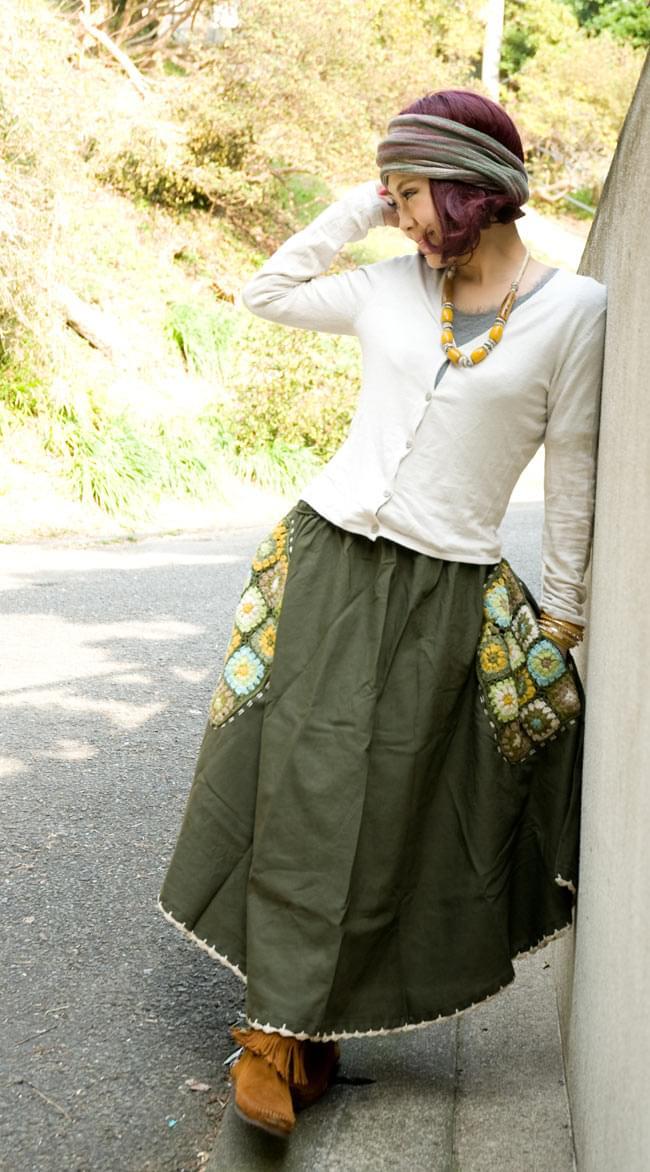 フラワー刺繍のコットンフレアスカート 4 - 身長150cmの着用例です。