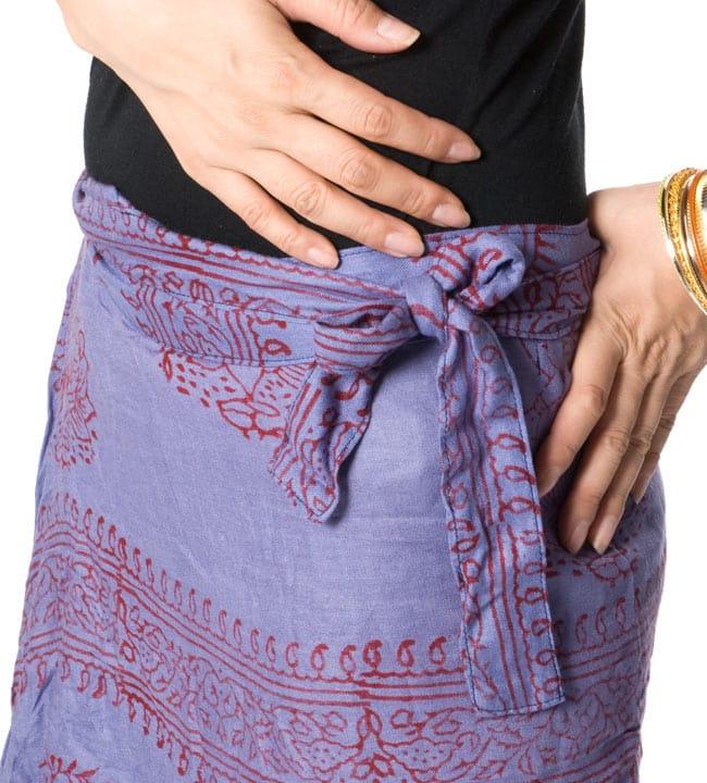 ラムナミフェアリー巻きスカート 薄茶の写真5 - サイドで結ぶとこのような感じです。